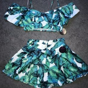 Green palm and Floral shorts and top